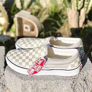 New Vans Silver checkered slip on shoes